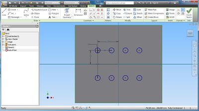 Sketch de 8 diâmetros na face do retângulo - método 2