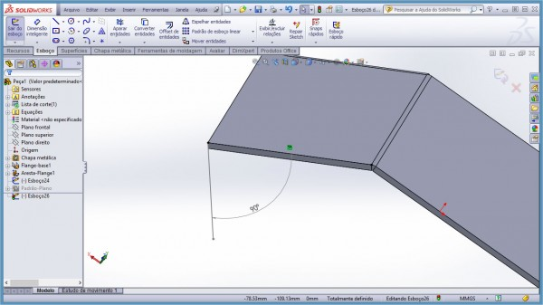 Flange Contínuo Perfil Perpendicular - SolidWorks