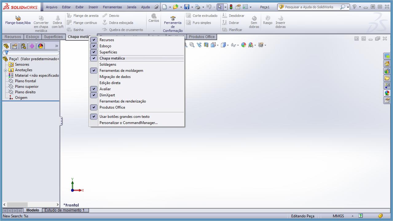 Passo 1 - SolidWorks - Habilitando chapas metalicas