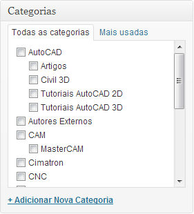 Box selecionar categoria wordpress