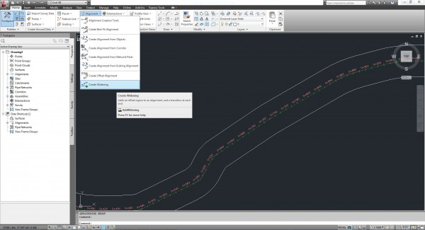 Create Widening - Menu Alignments - AutoCAD Civil 3D