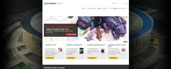 pagina da loja online da autodesk