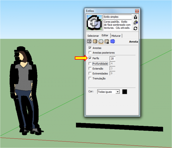 Estilo modificado de linha no SketchUp