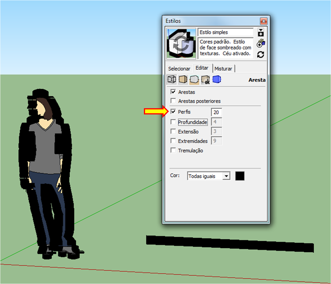 Estilo de linha com perfil 20 no SketchUp