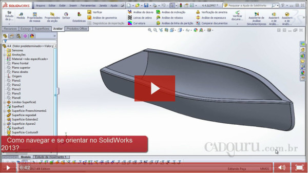 Como navegar e se orientar no SolidWorks 2013