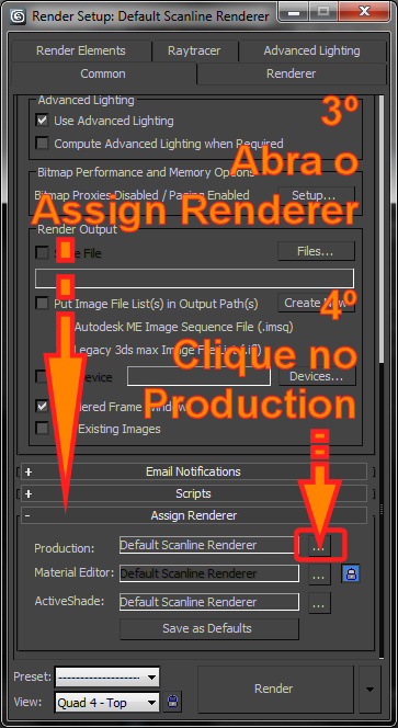 Onde fica o Production do Assign Renderer no 3ds Max?