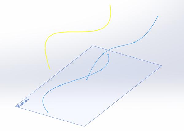 Um exemplo de curva projetada no SolidWorks 2013
