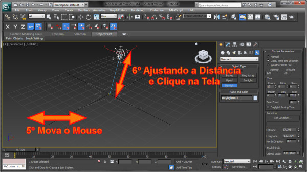 Qual a forma de alterar a Altura do Sol na Cena no 3ds Max?