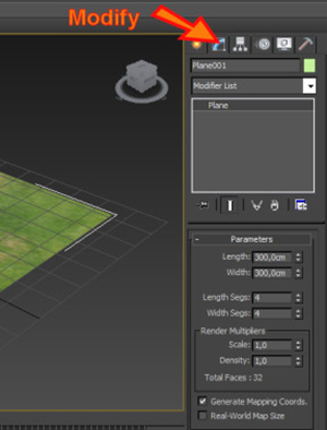 Como entrar no painel modify no 3ds Max?