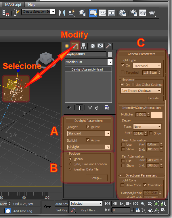 Como acessar o Painel Modify do Daylight no 3ds Max?