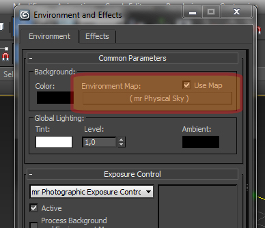 Qual a forma de acessar o Environment and Effects no 3ds Max? no 3ds Max?