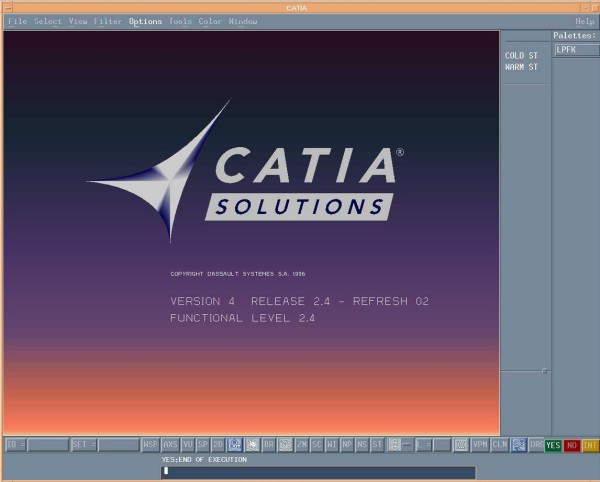 Interface do software CATIA V4.