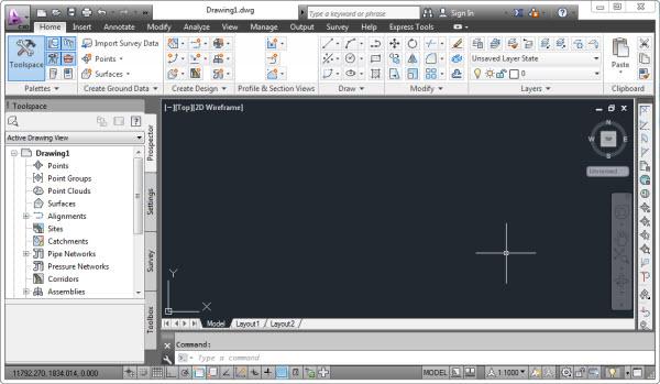 Conheça o Workspace Civil 3D
