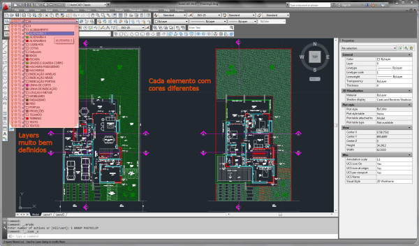 Layers sem definições interface clássica do AutoCAD