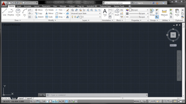 Veja como é a Tela Principal do Autocad 2014 Interface Nova