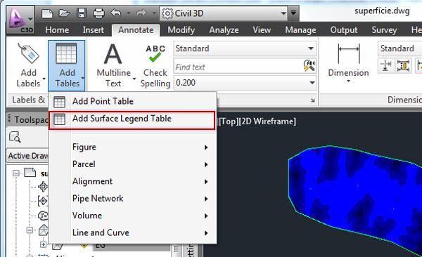 selecionando a legenda no AutoCAD Civil 3D