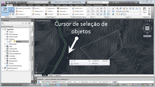 cursor do civil 3d