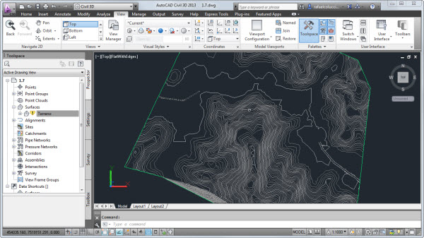 visualizando curvas de nivel no autocad civil 3d