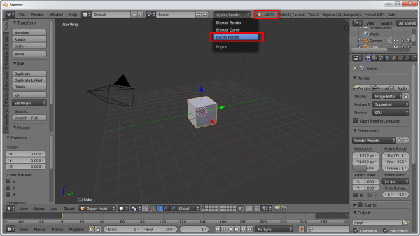 Interface do Blender com o Cycles habilitado.
