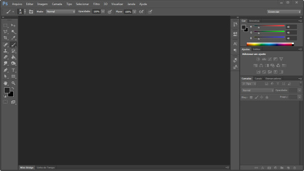 Interface do software Photoshop