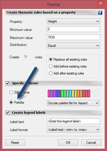 selecionando a paleta de cores no civil 3d