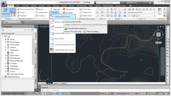 opcao create surface profile autocad civil 3d
