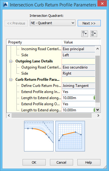 janela intersection curb return profile parameters